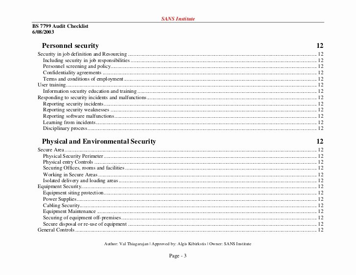 Physical Security Audit Checklist Beautiful iso Checklist