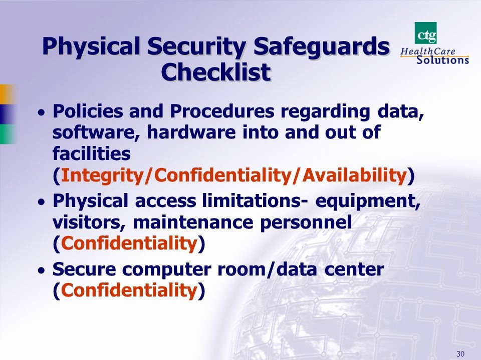Physical Security Audit Checklist Best Of Hipaa's Security Regulations Ppt Video Online