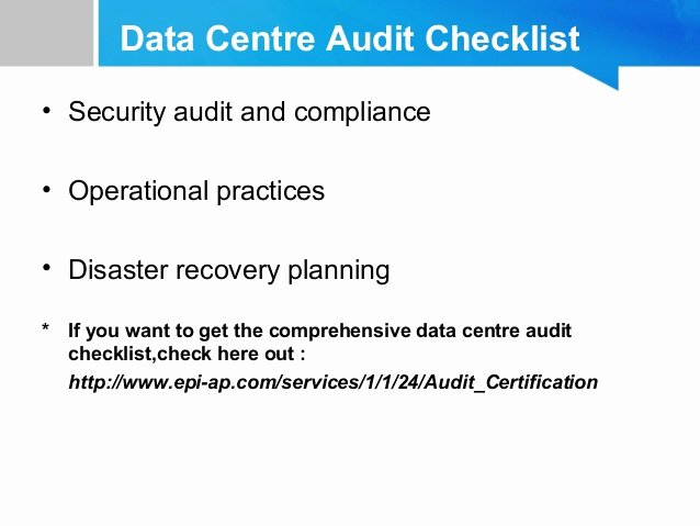 Physical Security Audit Checklist Best Of What You Didn T Know About Data Centre Audit Certification