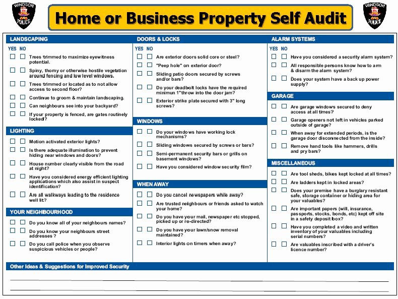 Home Business Security Self Audit Checklist