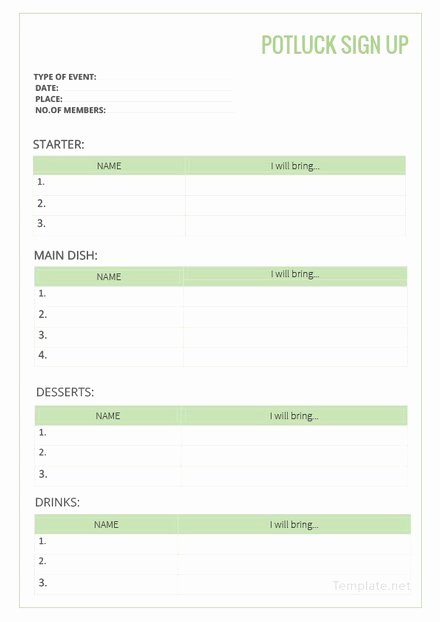 potluck checklist template