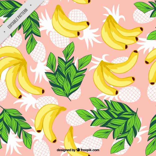 Pineapple Leaf Template Luxury Banana and Pineapple with Leaves Pattern Vector