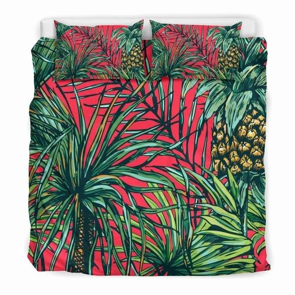 pineapple leaves hawaii pattern print duvet cover bedding set variant=