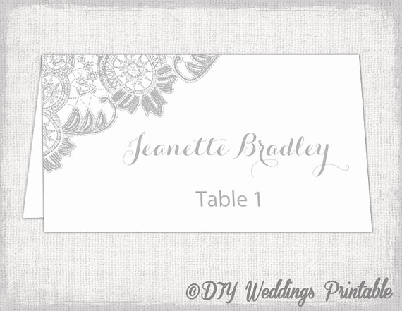Place Card Template 6 Per Sheet Fresh Printable Place Cards Template Silver Gray Wedding Place Card