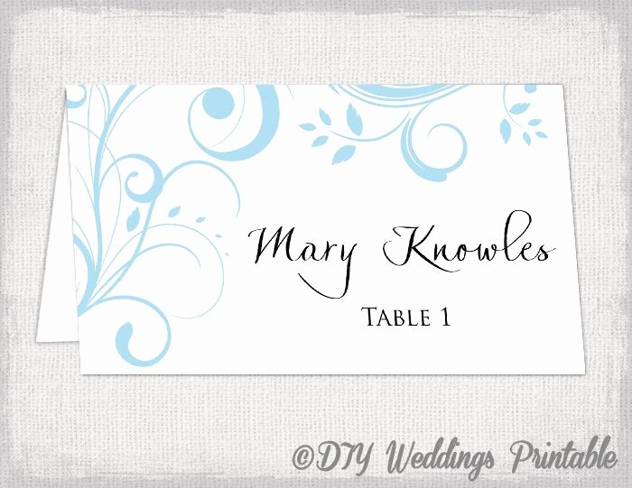 Place Card Template 6 Per Sheet Lovely Printable Place Card Template Capri Blue Scroll
