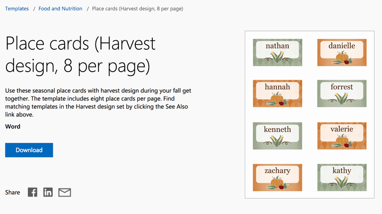 Place Card Template 6 Per Sheet Luxury Free Autumn theme Templates for Microsoft Fice