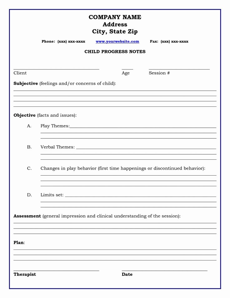 Play format Template Luxury therapy Progress Note Template