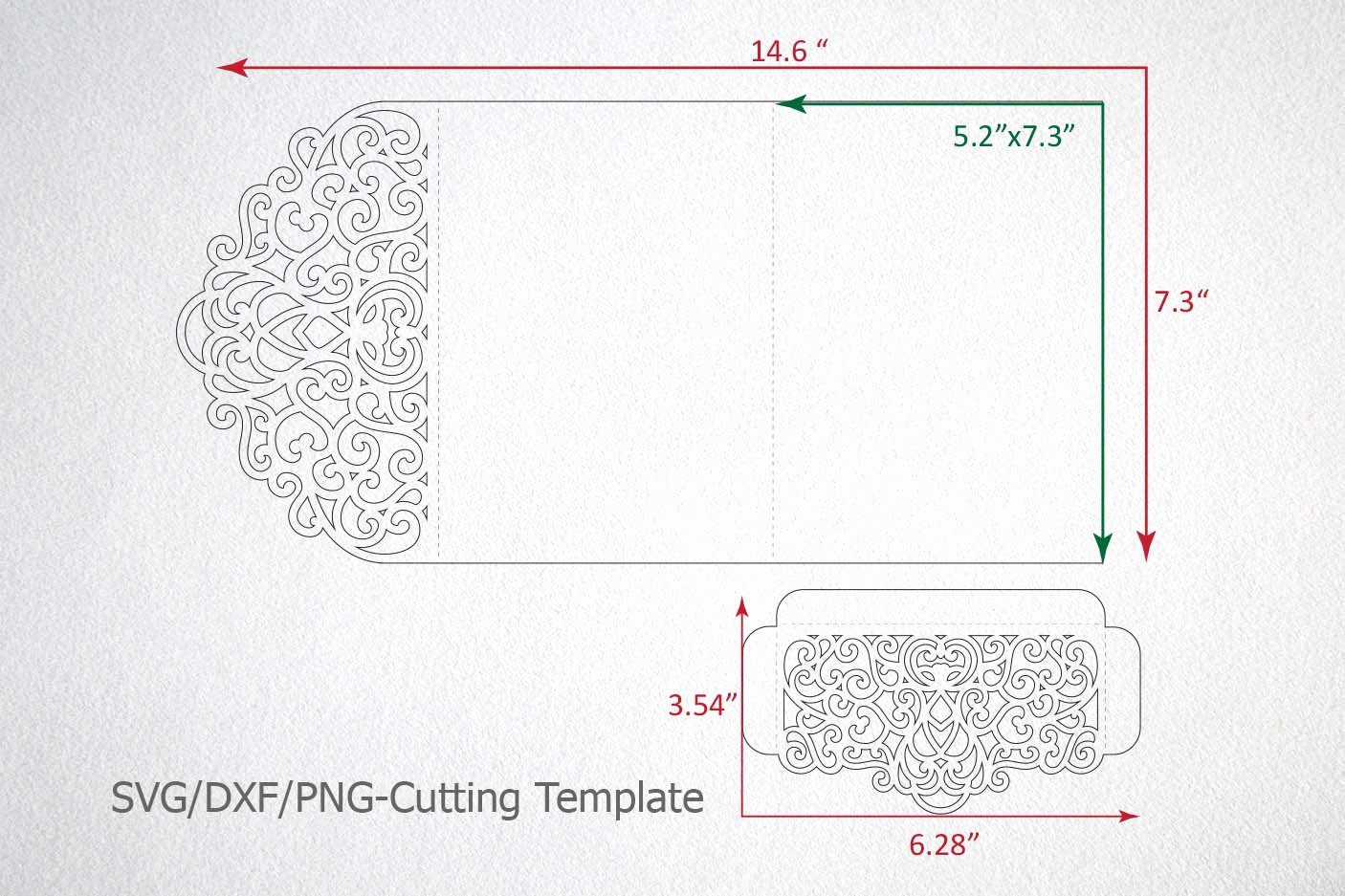 Pocket Envelope Template Beautiful Tri Fold Wedding Invitation Pocket Envelope Svg Dxf Template