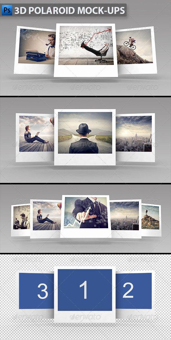 Polaroid Frame Psd Unique 3d Polaroid Mock Ups by themedia