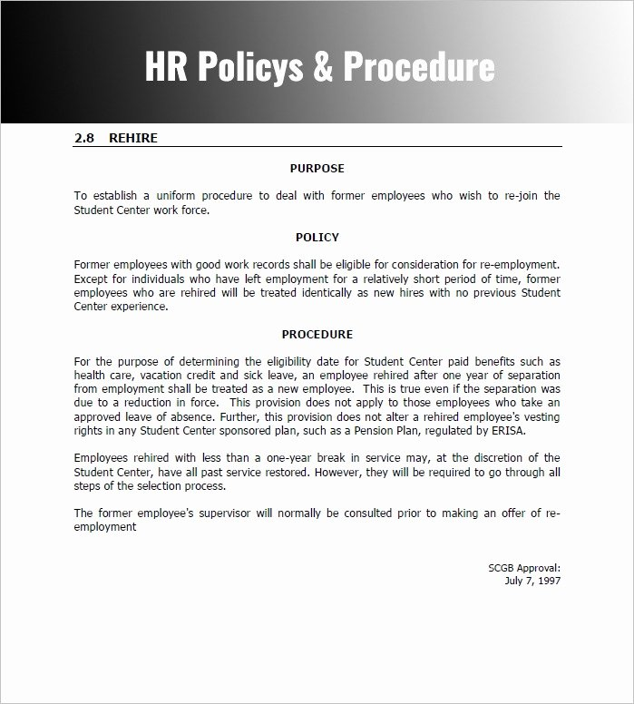 Policy and Procedure Template Awesome Policies and Procedures Template for Small Business Policy
