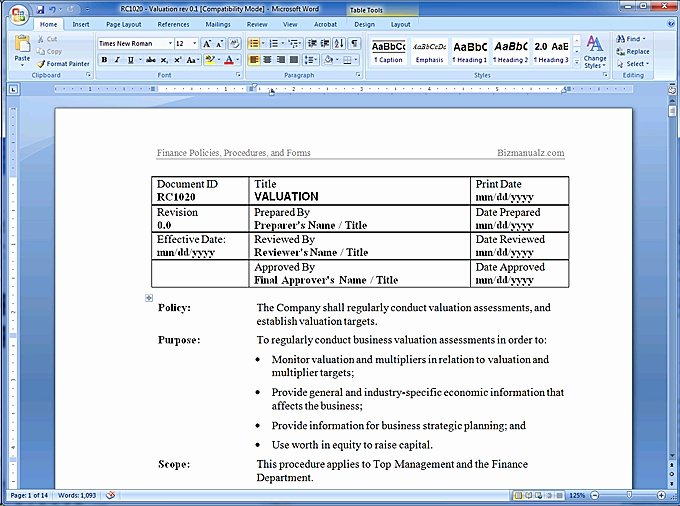 Policy and Procedure Template Awesome Policy and Procedure Template