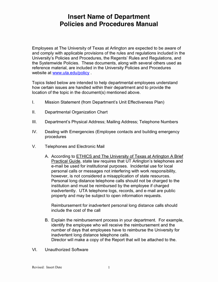 Policy and Procedure Template New Departmental Policies and Procedures Manual Template In