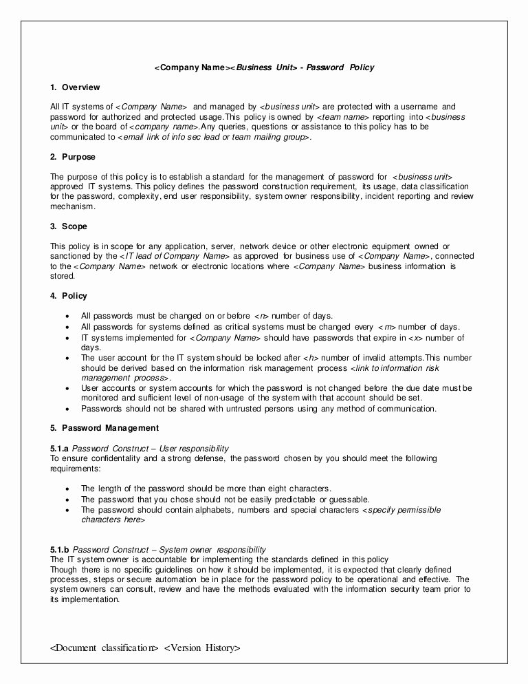 Policy Letter Template Elegant Password Policy Template