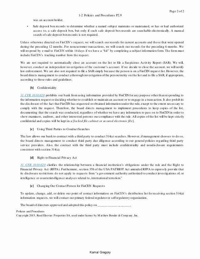 Policy Letter Template Fresh Sample Bsa Aml Policie & Procedure Template