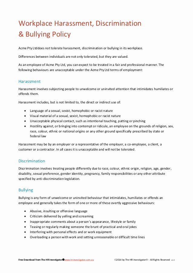 Policy Letter Template New Workplace Harassment Discrimination & Bullying Policy