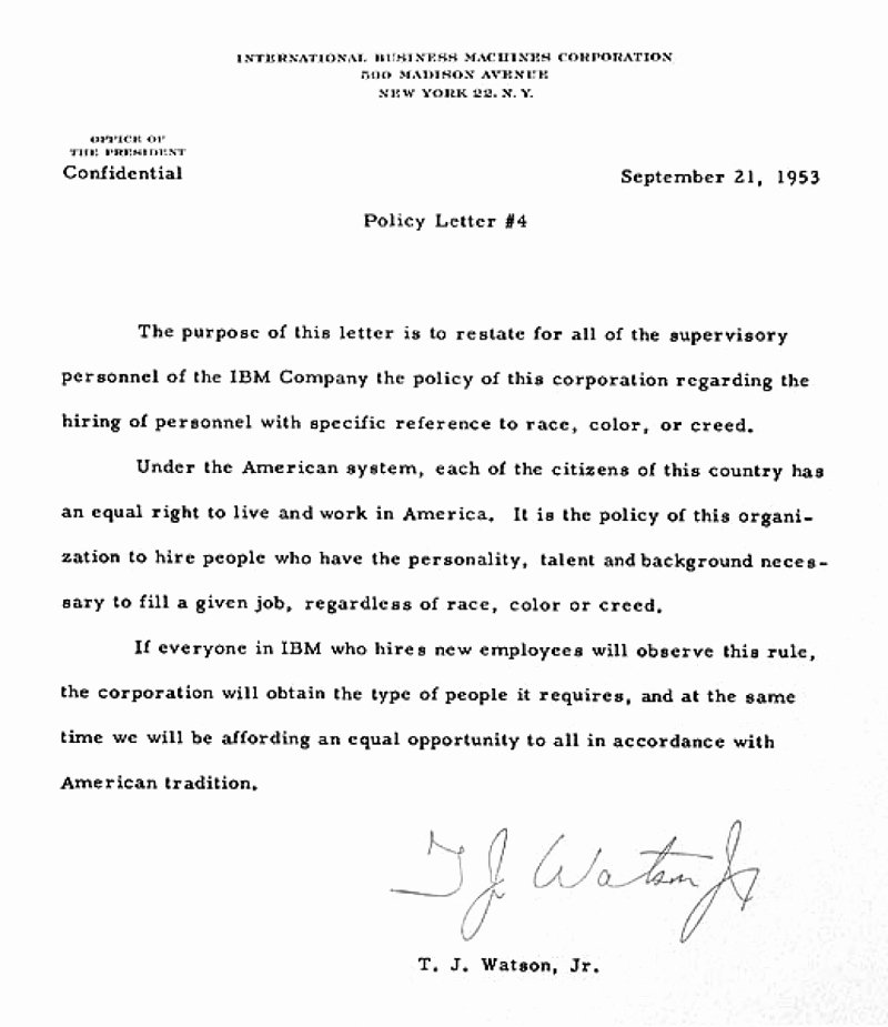 Policy Letter Template Unique Ibm100 Building An Equal Opportunity Workforce