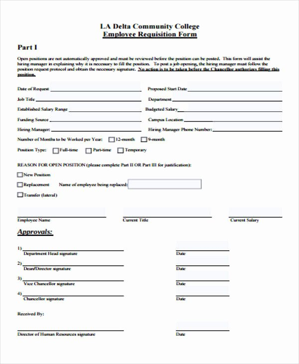 Position Requisition form Template Beautiful 40 Sample Requisition form In Pdf