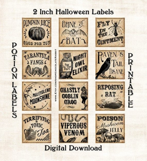 Potion Label Template Awesome Vintage Potion Labels Halloween Witch Digital Download