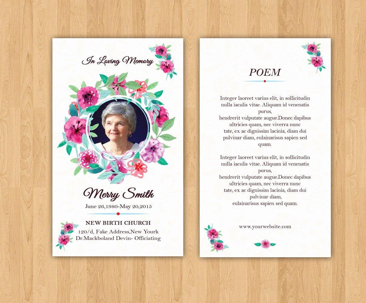 funeral prayer card template editable ms