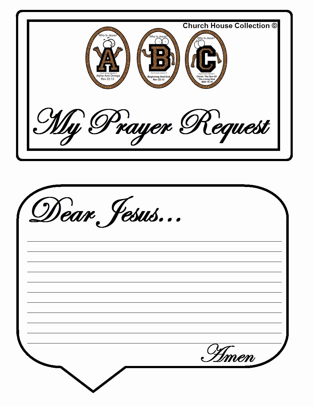 """Prayer Request Cards Template Luxury Church House Collection Blog Abc S """"who is Jesus """" White"""