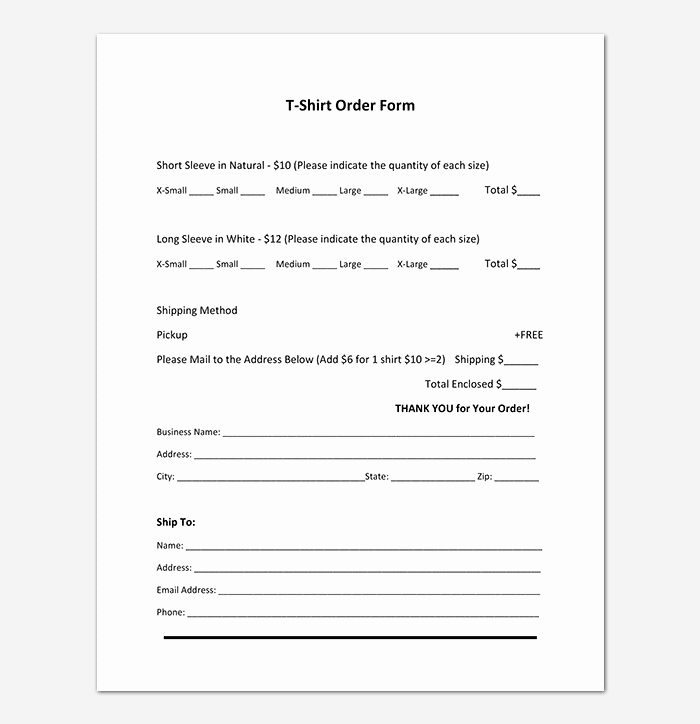 Pre order form Template Lovely T Shirt order form Template 17 Word Excel Pdf