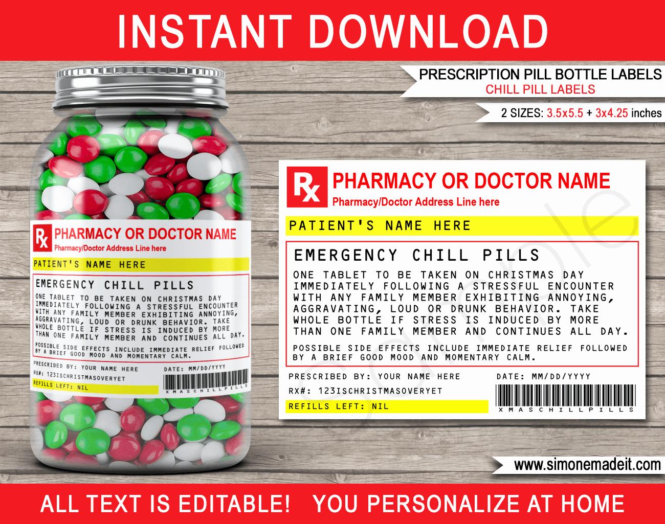 Prescription Bottle Label Template Lovely Christmas Chill Pills Label Template Prescription