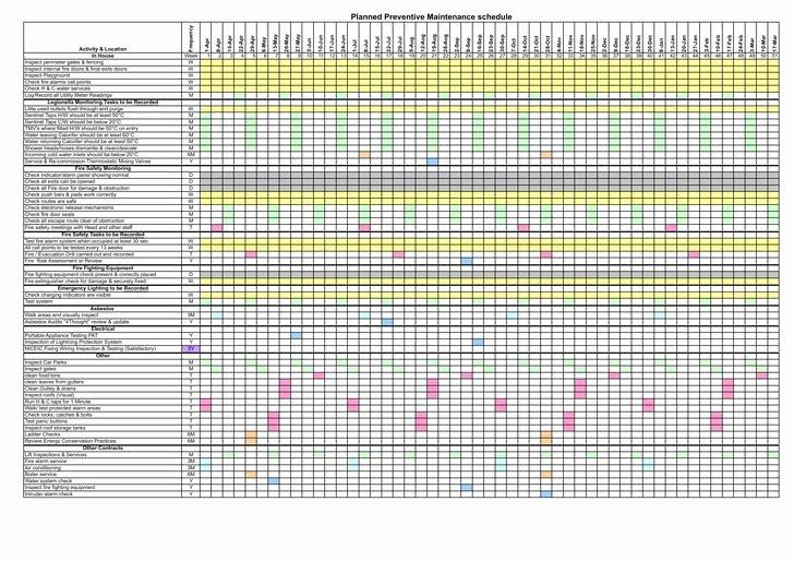 Preventive Maintenance Excel Template Beautiful Preventive Maintenance Schedule Template Excel