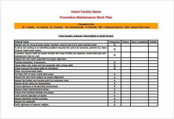 Preventive Maintenance Excel Template Inspirational 37 Preventive Maintenance Schedule Templates Word