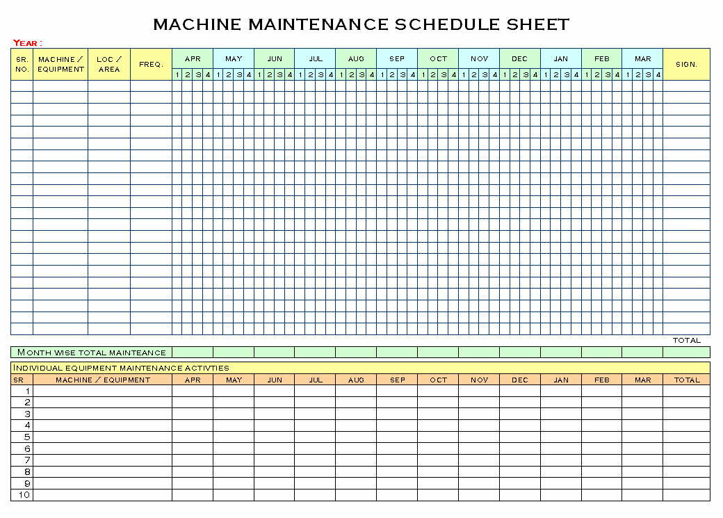 Preventive Maintenance Excel Template Inspirational Machinery Maintenance Schedule Template Excel – Printable