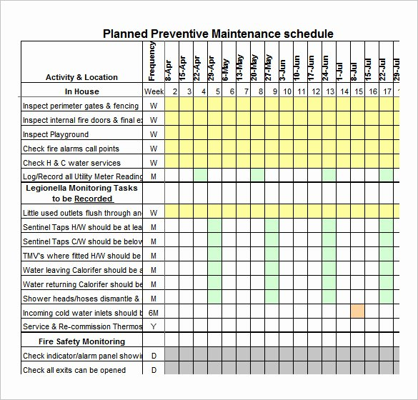 Preventive Maintenance Excel Template Luxury 37 Preventive Maintenance Schedule Templates Word