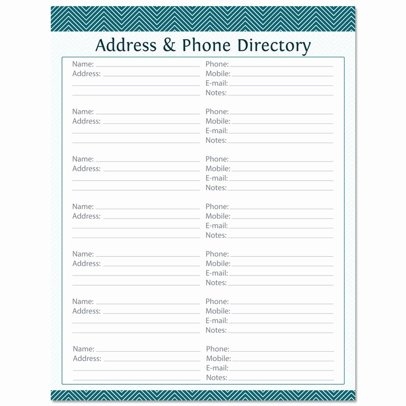 Printable Address Book Template Beautiful Address & Phone Directory Fillable Printable Pdf Instant