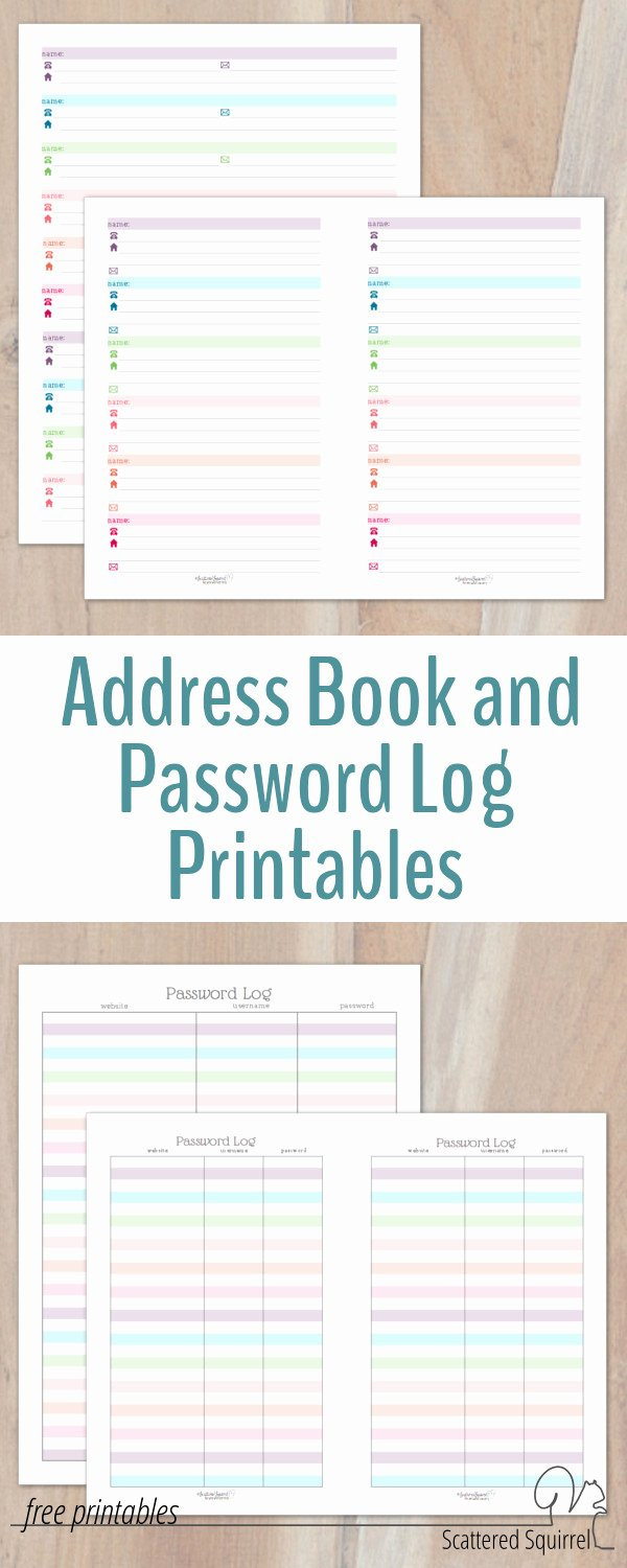 Printable Address Book Template Best Of Colourful Address Book and Password Log Printables