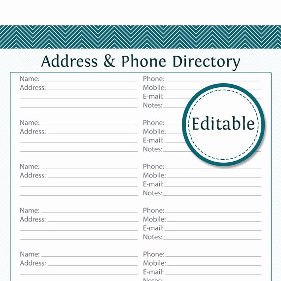 Printable Address Book Template Luxury Address & Phone Directory Fillable Printable Pdf