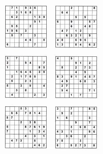 hard sudoku 4 per page