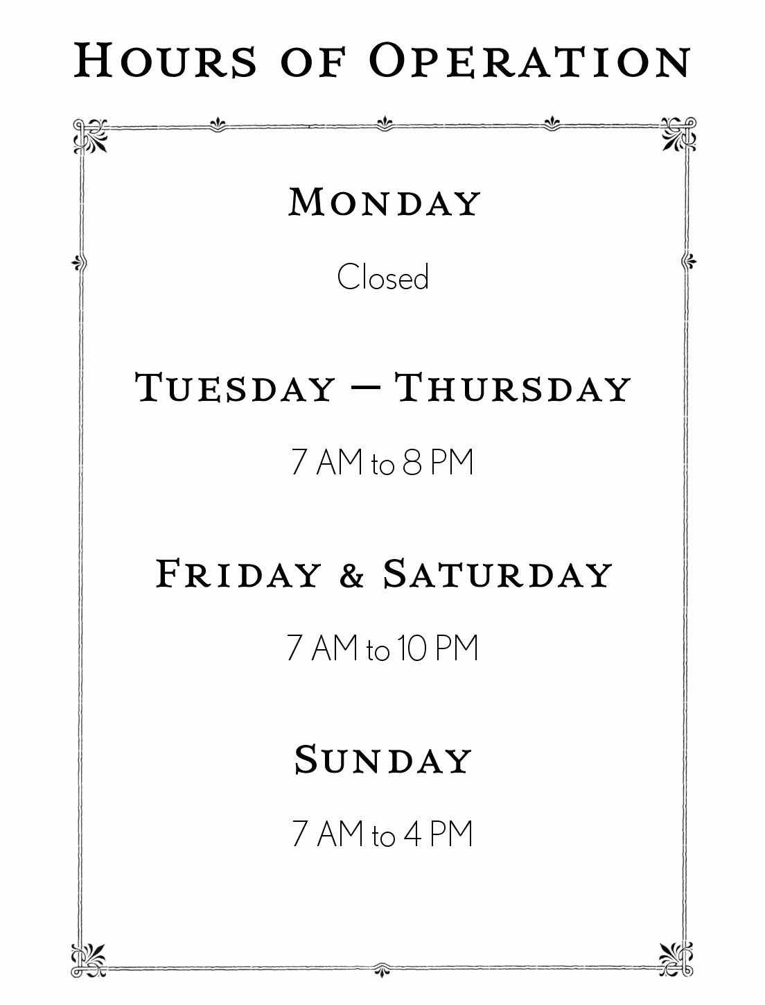 Printable Business Hours Sign Beautiful Hours Operation Template