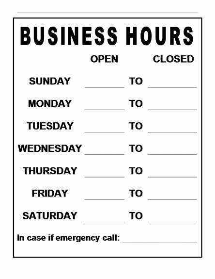 Printable Business Hours Sign Beautiful Printable Business Hours Sign Template Tulsalutheran
