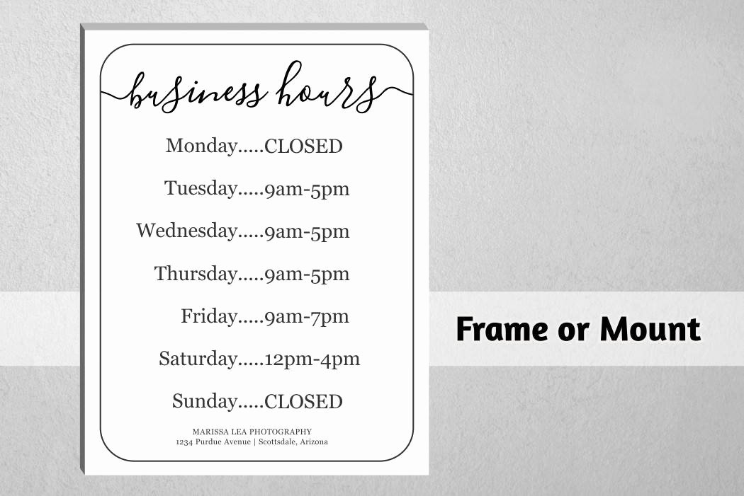 Printable Business Hours Sign Best Of Business Hours Sign Printable Template Hours Of