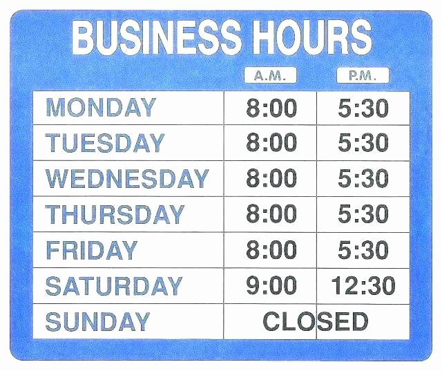 business hours template word