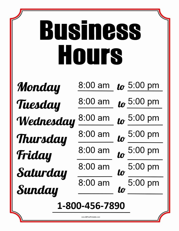 Printable Business Hours Sign Elegant 2996 Best Templates Images On Pinterest