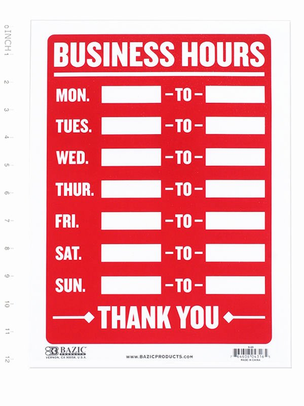 Printable Business Hours Sign Elegant Business Hours Sign • Open Mon Sun Write In From to Times