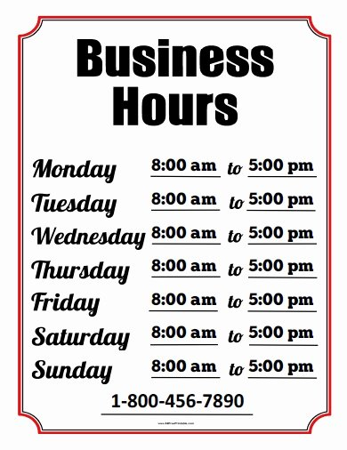 Printable Business Hours Sign Fresh Business Hours Sign Free Printable Allfreeprintable