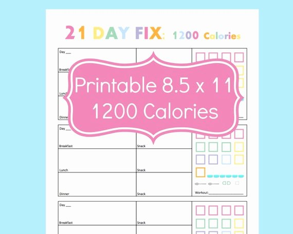 Printable Calorie Tracker Unique 21 Day Fix Tracker 21 Day Fix Printables 21 Day by