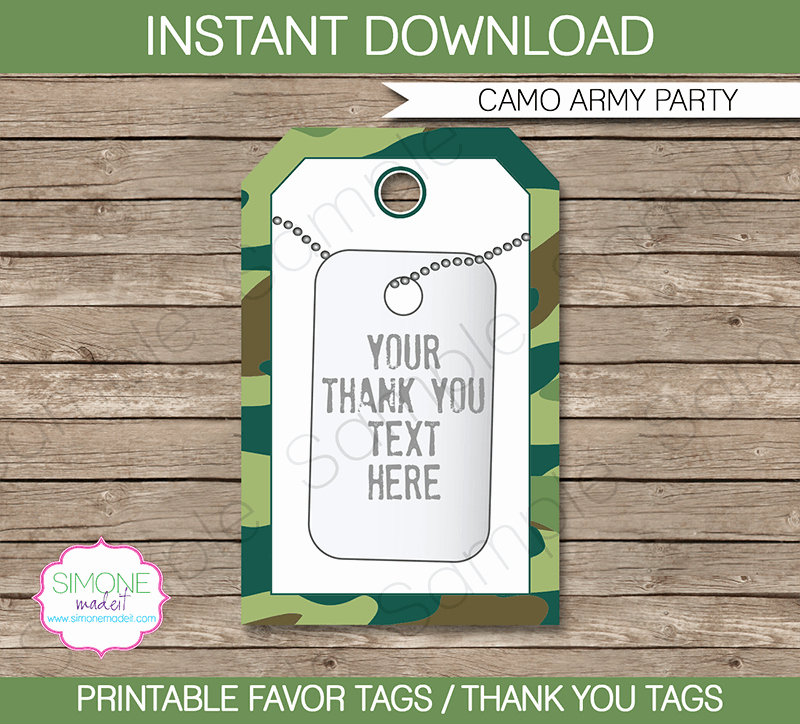 Printable Dog Tag Template New Army Camo Party Favor Tags