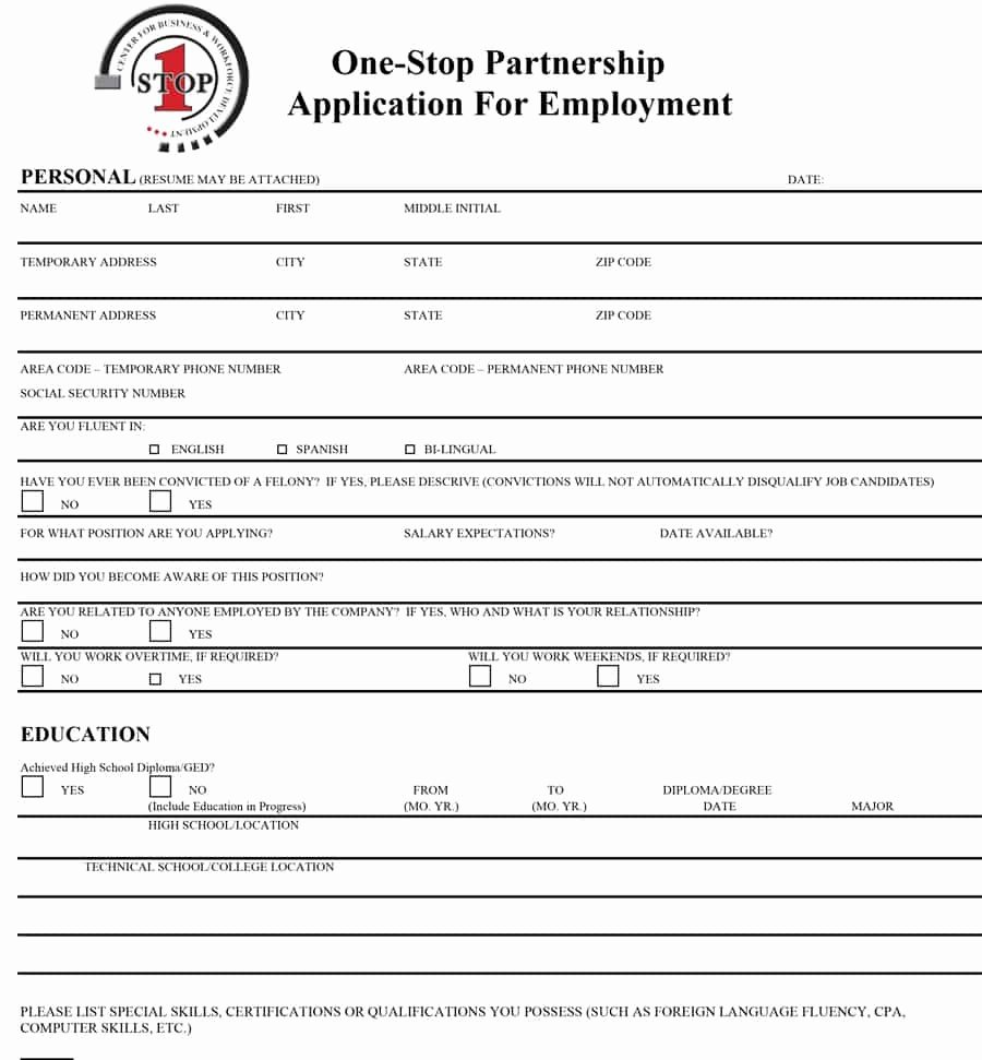 Printable Employment Application Template Beautiful 50 Free Employment Job Application form Templates