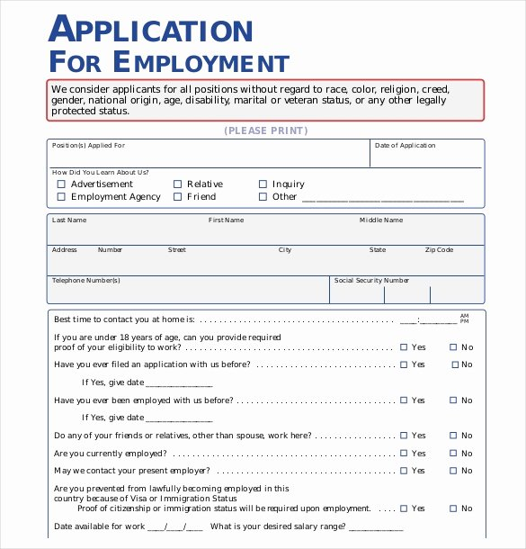 Printable Employment Application Template Fresh 15 Employment Application Templates – Free Sample