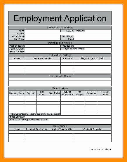 Printable Employment Application Template Fresh Generic Job Application form – Syncla