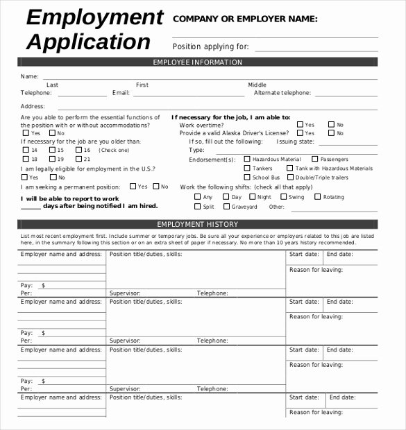 Printable Employment Application Template Luxury 15 Employment Application Templates – Free Sample