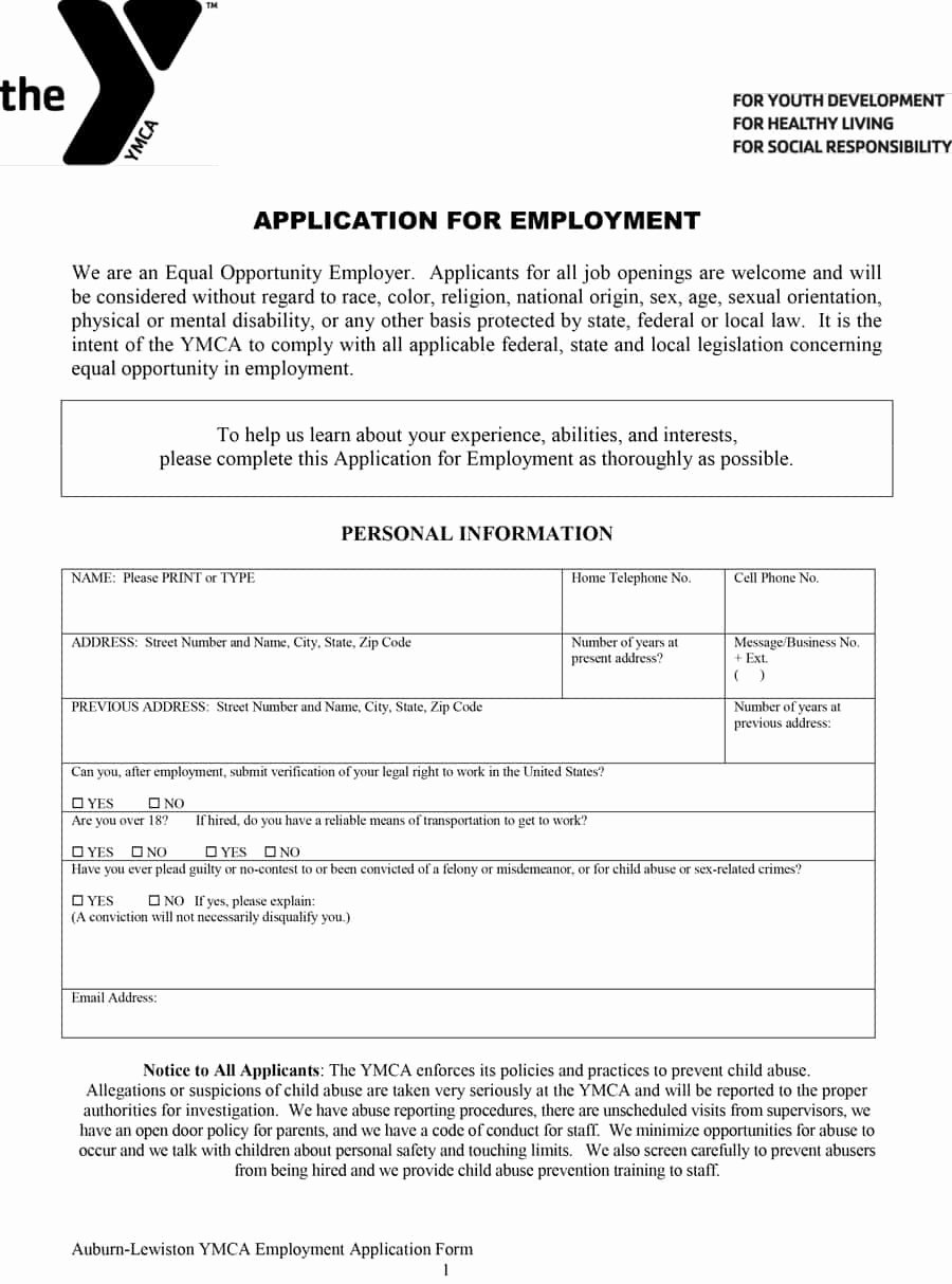 Printable Employment Application Template New 50 Free Employment Job Application form Templates