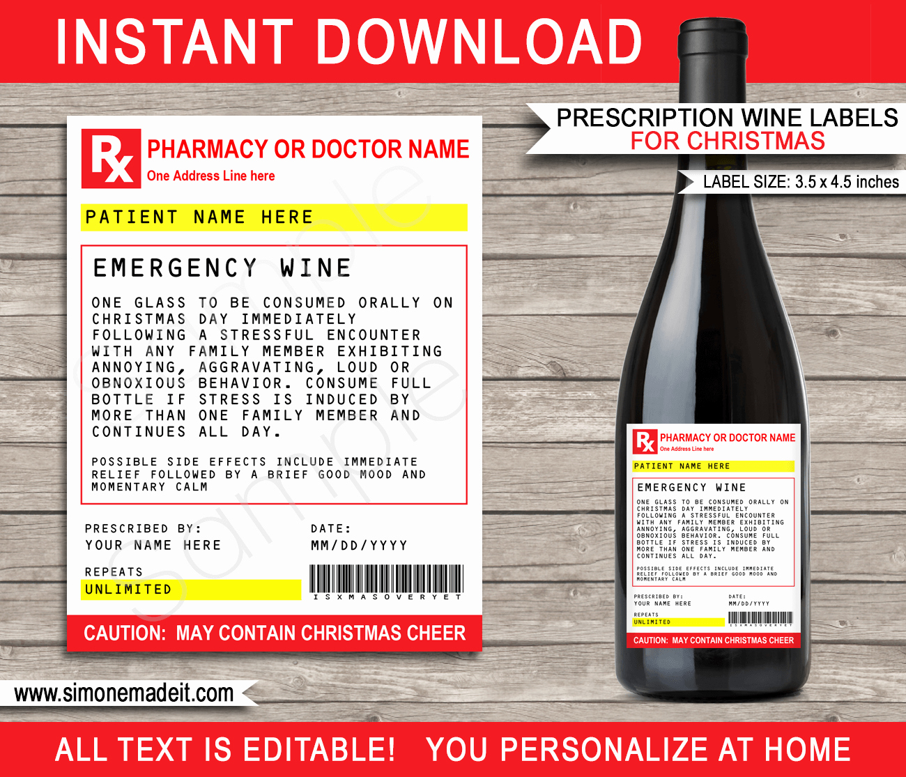 christmas prescription wine bottle labels template