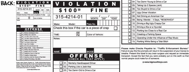 Printable Fake Tickets Beautiful Fake Parking Tickets Set Of 5 $3 95 Funslurp